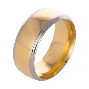 8MM Mens Stainless Steel Gold Band Ring